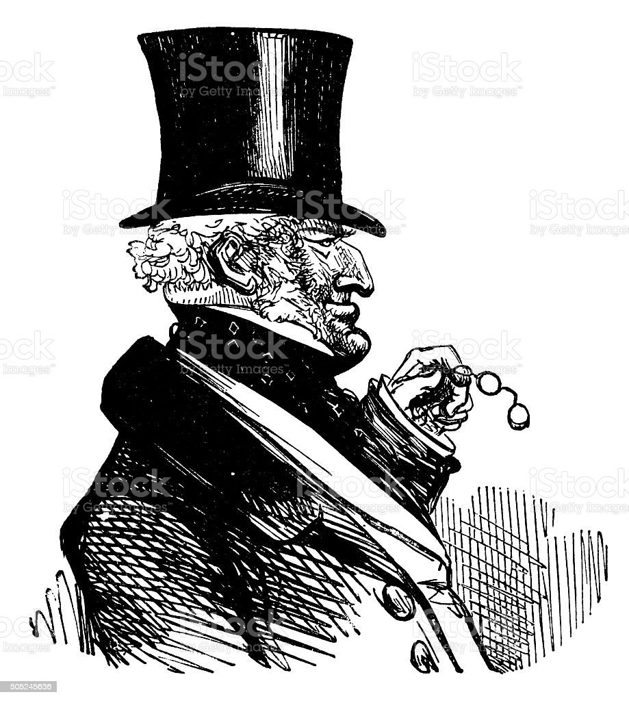 Victorian gentleman with a top hat and lorgnette vector art illustration