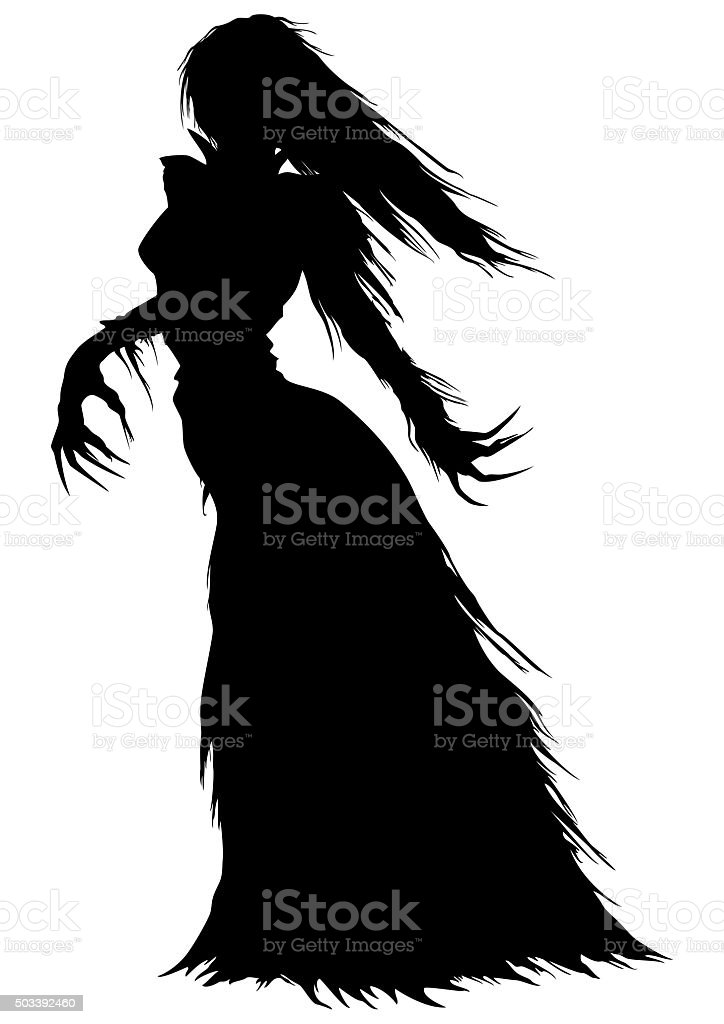Victorian ghost or a vampire woman silhouette vector art illustration