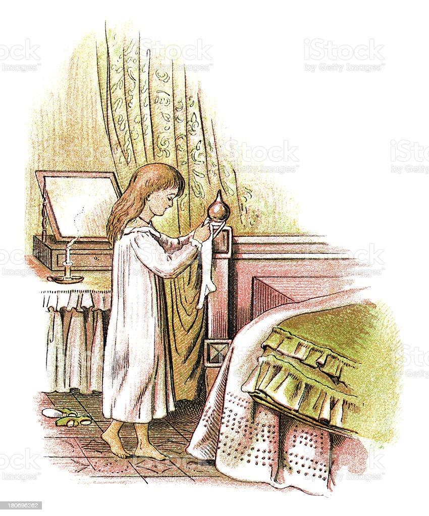 Victorian girl hanging up her Christmas stocking vector art illustration