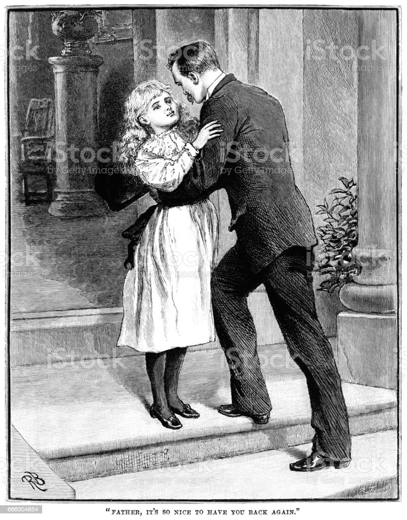 Victorian girl welcoming her father home vector art illustration