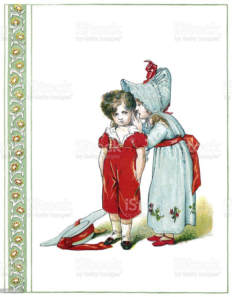 Victorian girl whispering to a little boy vector art illustration