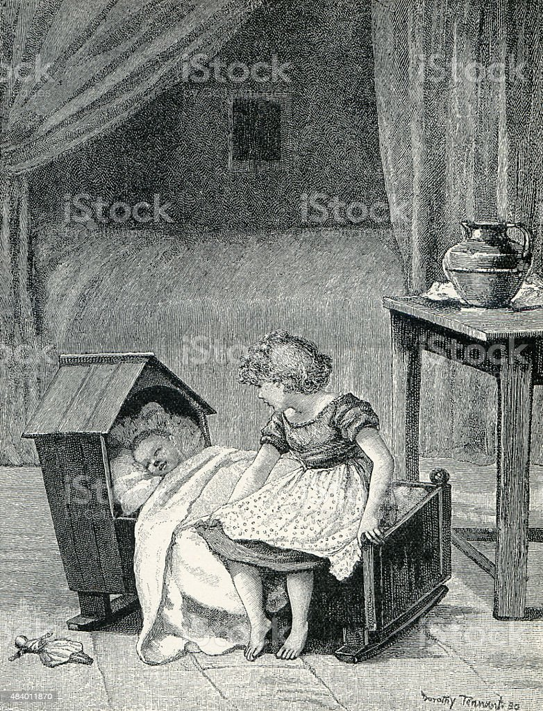 Victorian Girl with Baby in Rocking Cradle vector art illustration
