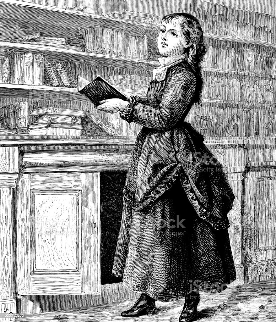 Victorian girl with books vector art illustration