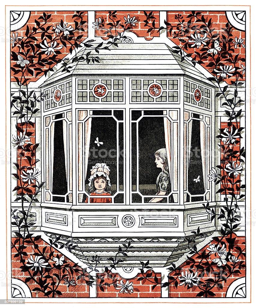 Victorian girls at a window vector art illustration