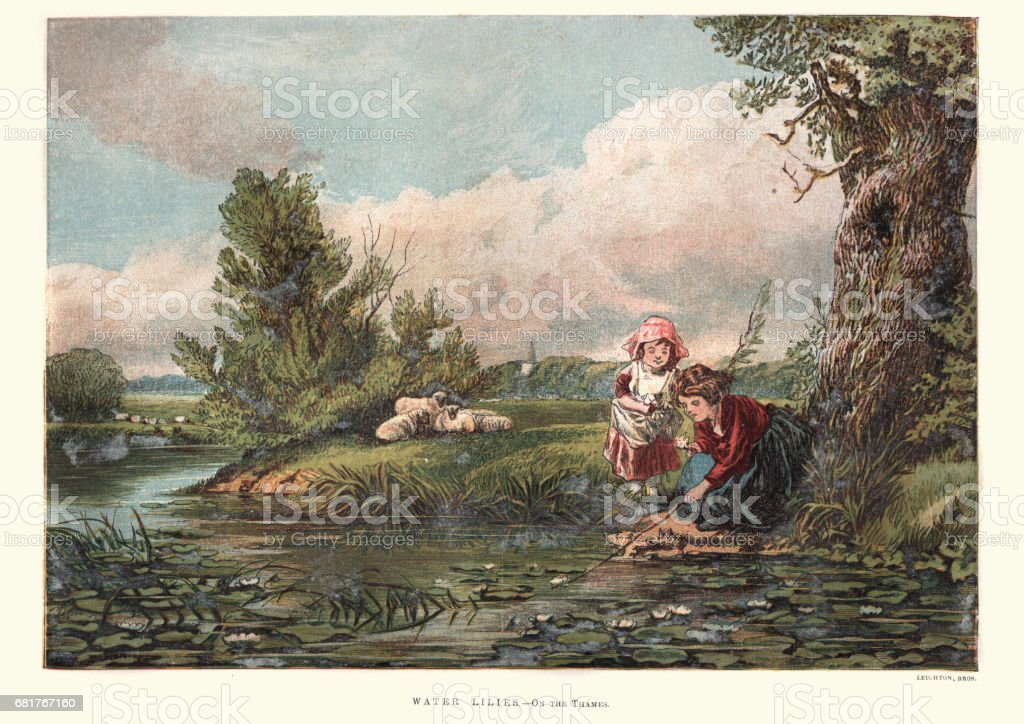 Victorian girls collecting water lilies on the Thames vector art illustration