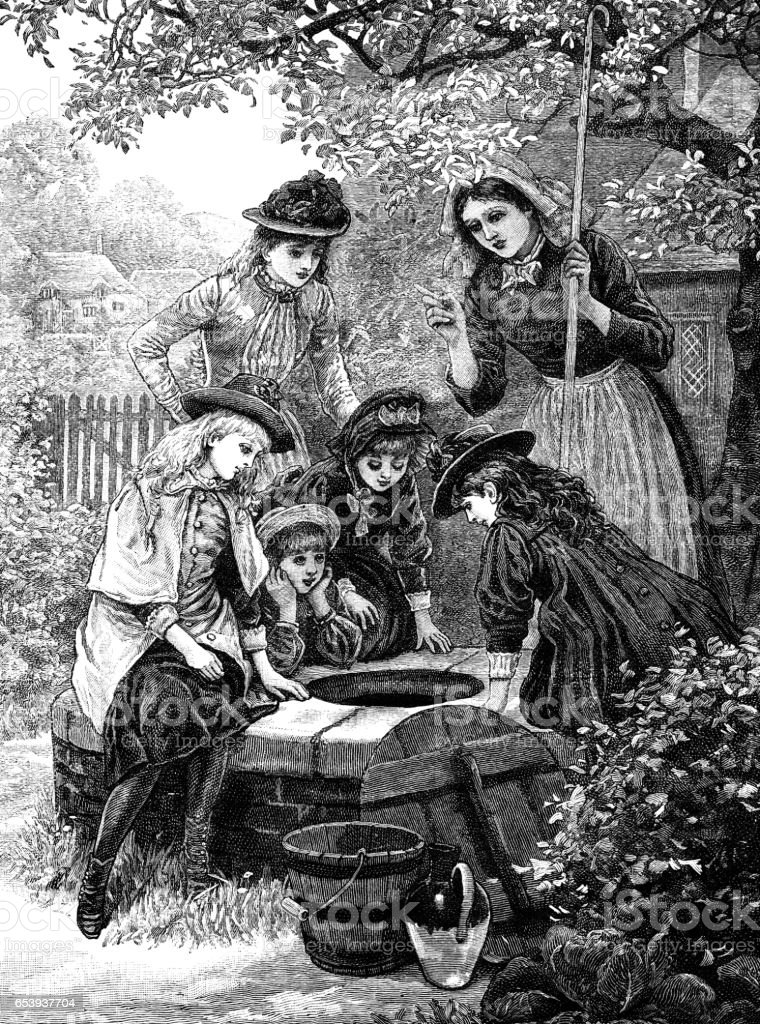 Victorian girls hunting for something lost down a well vector art illustration