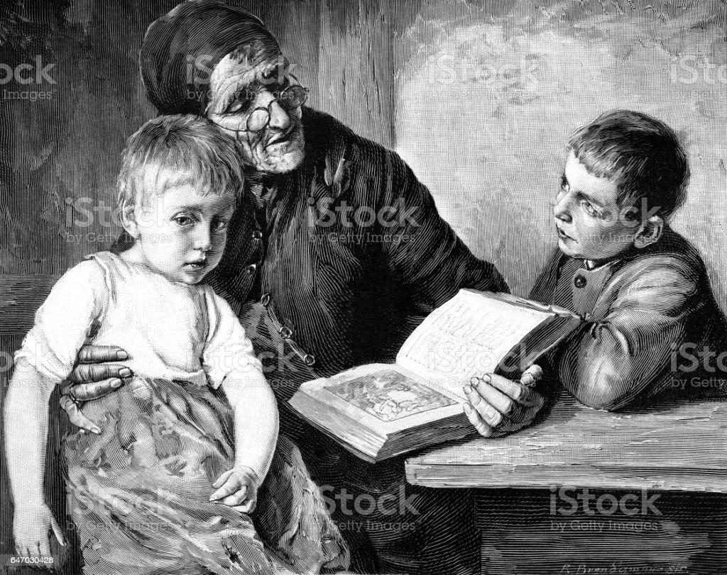 Victorian grandmother reading the Bible to her grandchildren vector art illustration