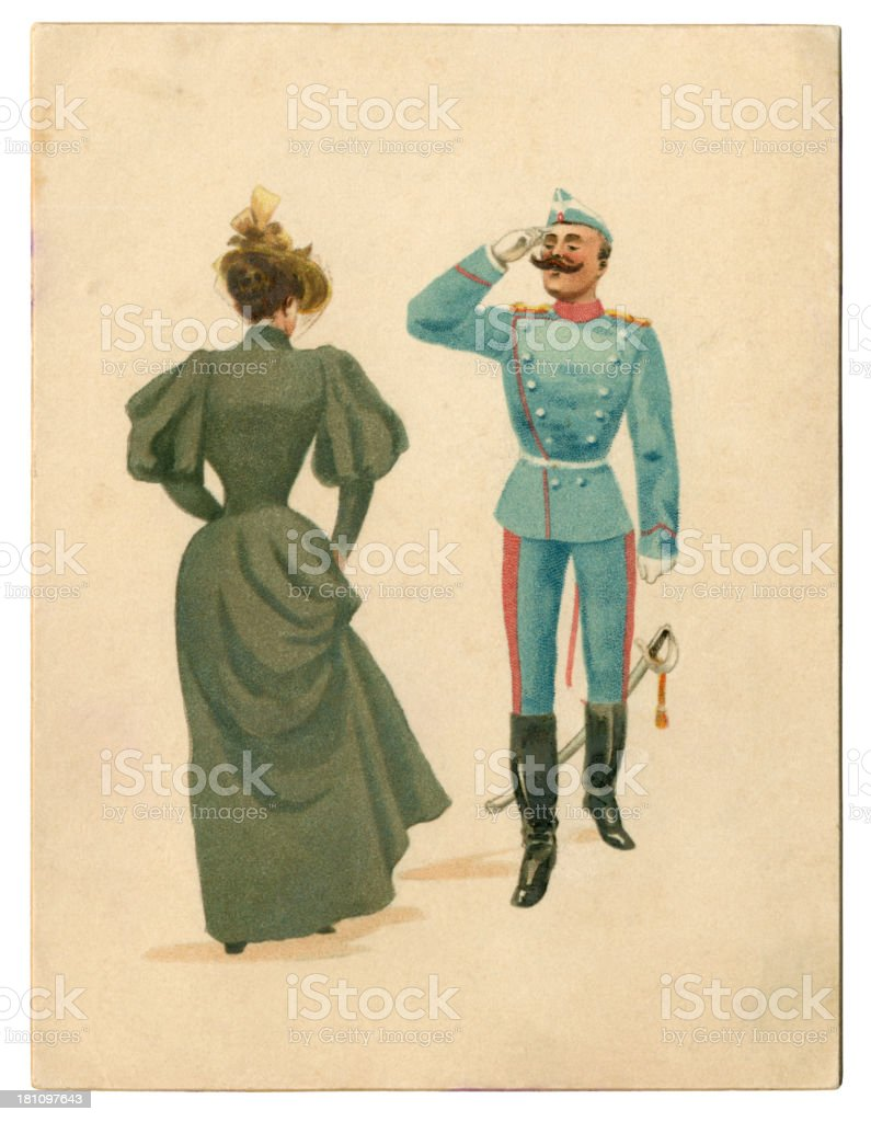 Victorian greetings card with saluting soldier and lady, 1896 royalty-free stock vector art