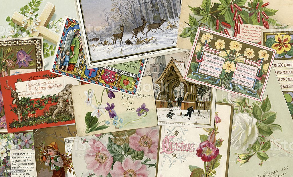 Victorian greetings cards background vector art illustration