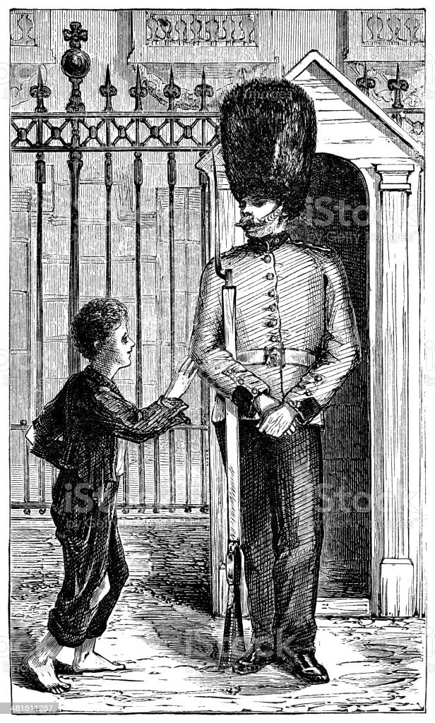 Victorian Guardsman with a small ragged boy vector art illustration