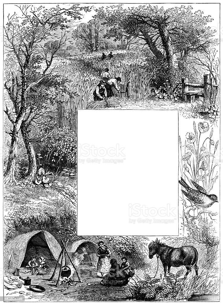 Victorian harvest time border vector art illustration