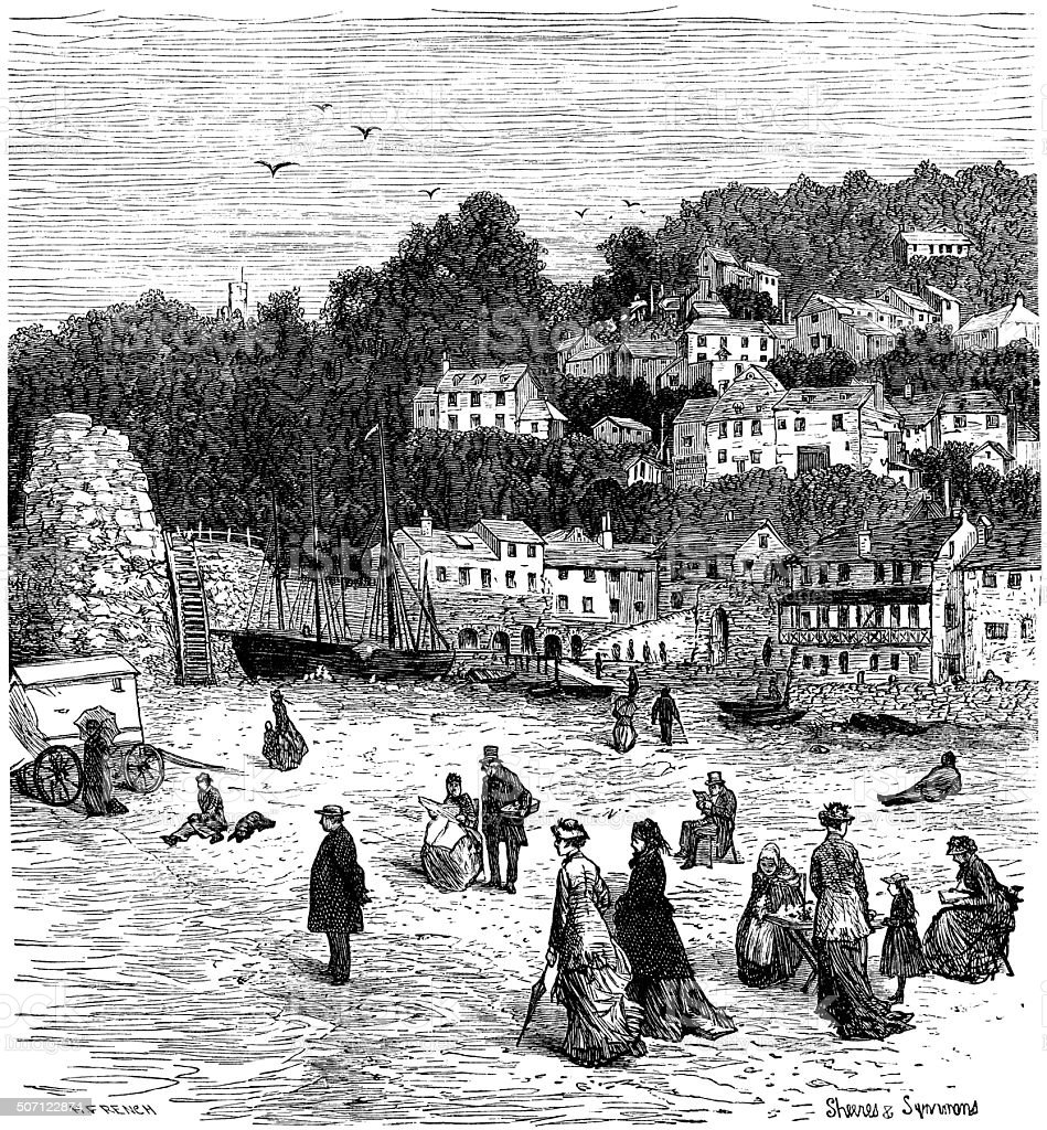 Victorian holidaymakers on the sea shore vector art illustration