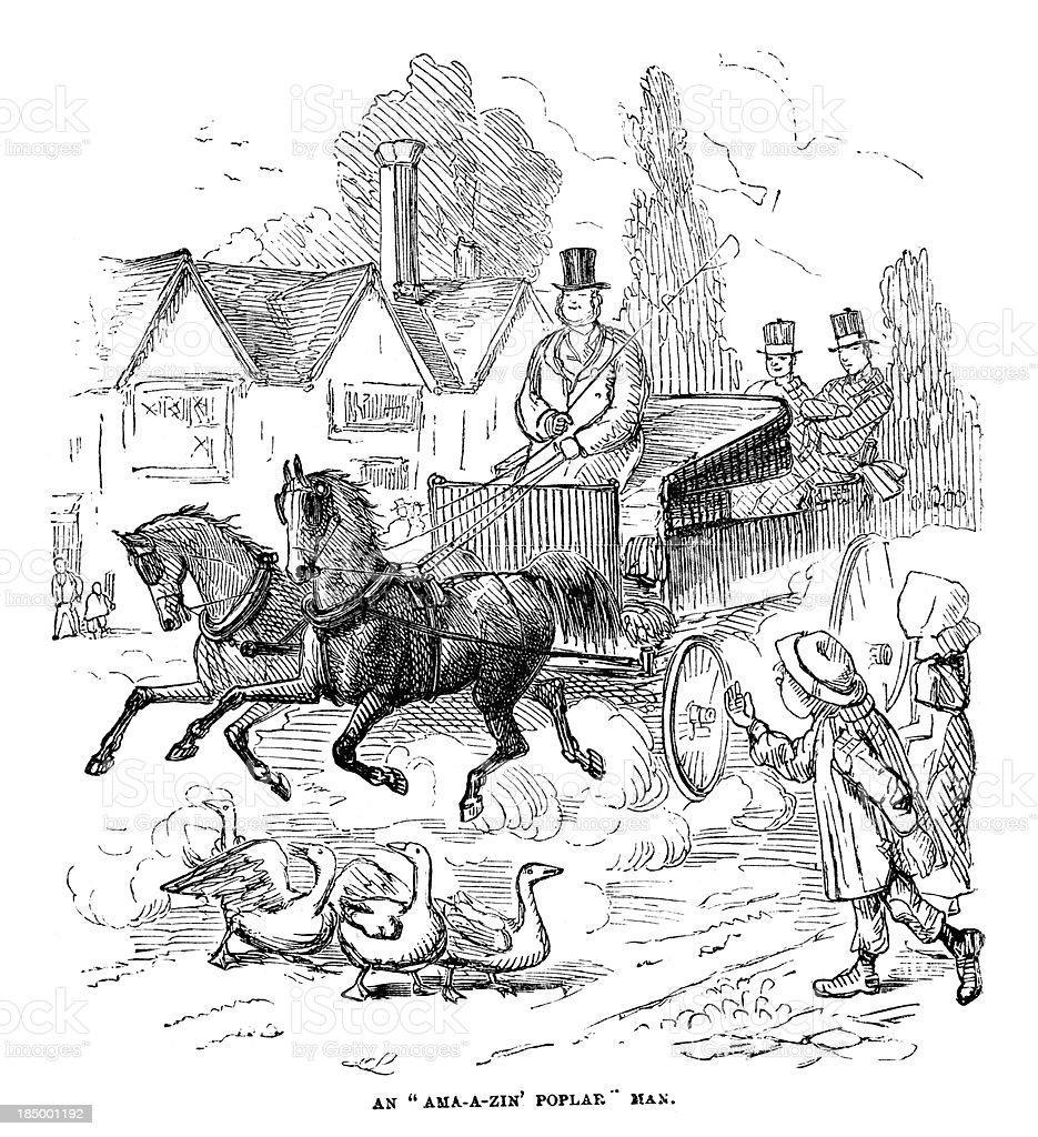 Victorian Horse and Carriage vector art illustration