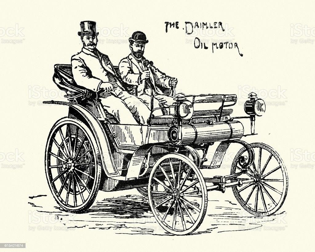 Victorian horseless carriage Daimler Oil Motor Car 1896 vector art illustration