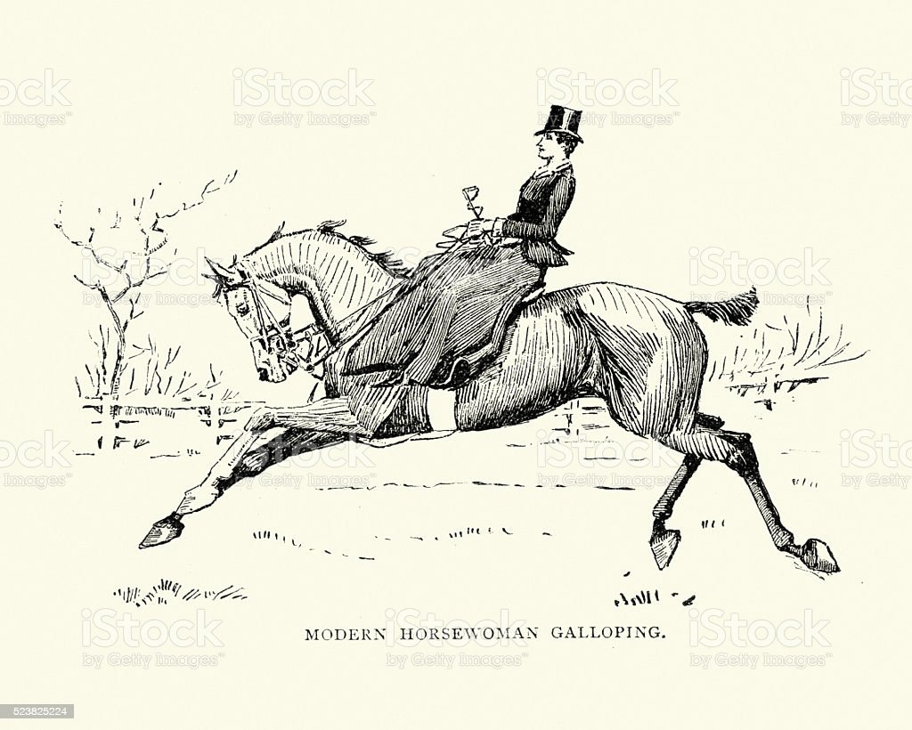 Victorian horsewoman galloping her horse vector art illustration