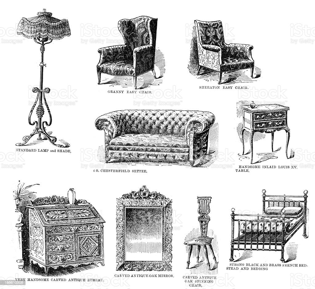 Victorian Household Furniture royalty-free stock vector art