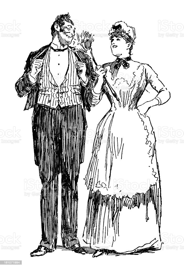 Victorian housemaid flirting with the footman royalty-free stock vector art