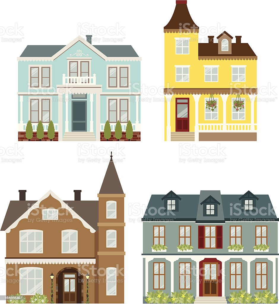 Victorian  Houses vector art illustration