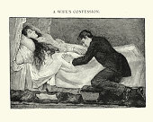 Victorian husband at his wifes death bed