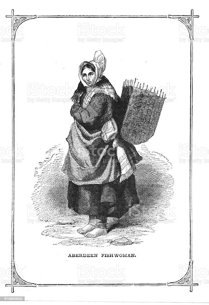 Victorian illustration an Aberdeen Fishwoman with basket on back vector art illustration