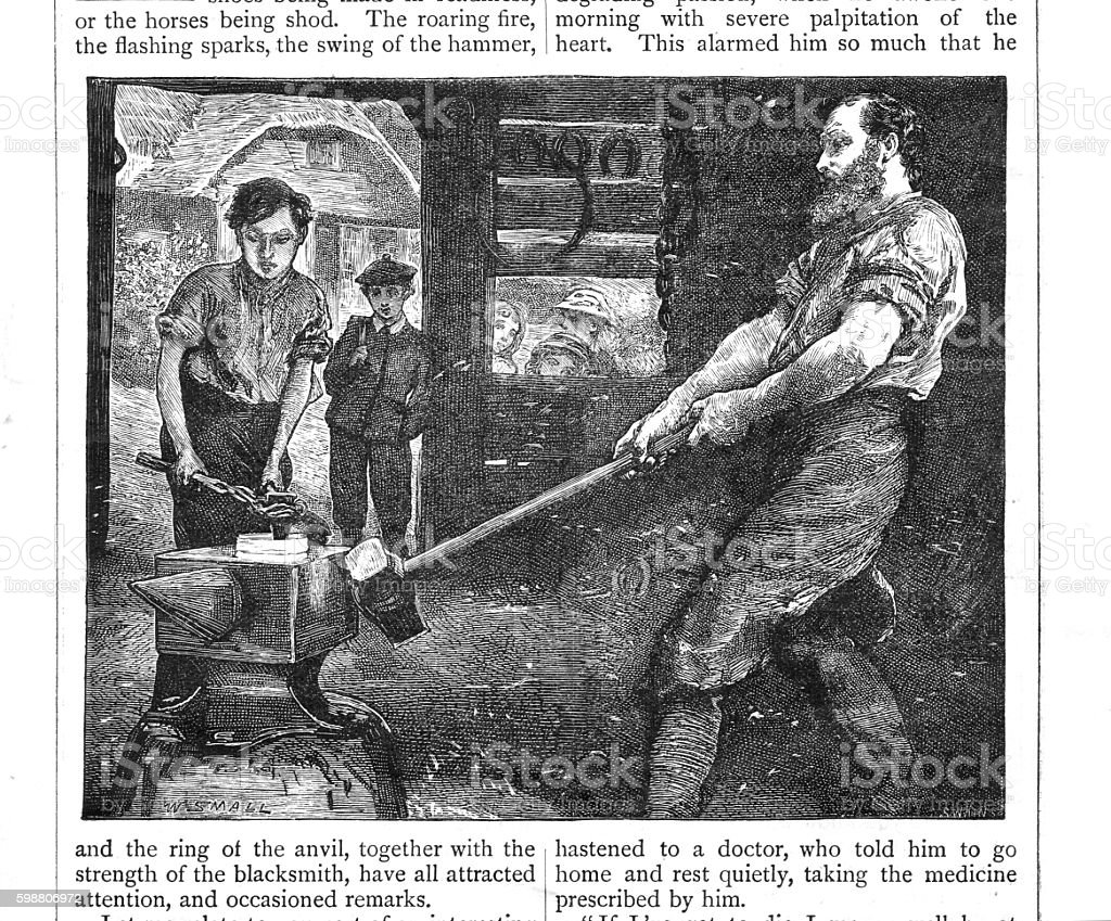 Victorian illustration blacksmith and young apprentice working the anvil vector art illustration