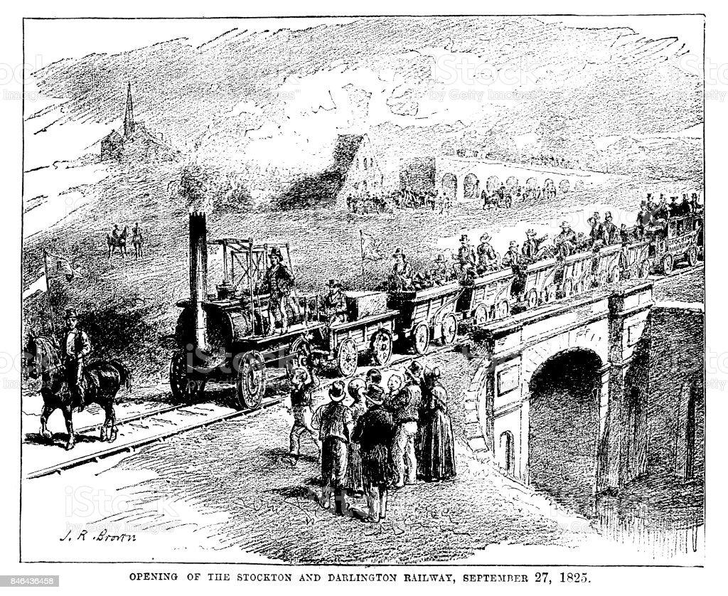 Victorian illustration entitled 'Opening of the Stockton and Darlington Railway September 27th 1825; steam transport history vector art illustration