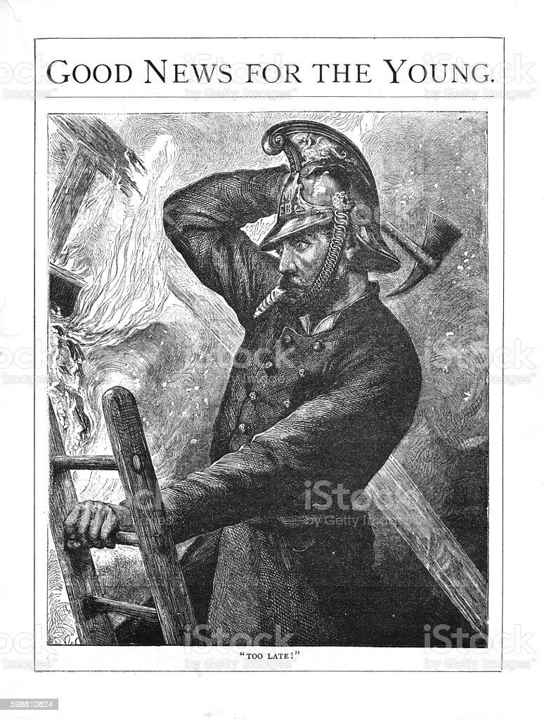 Victorian illustration fireman on ladder with axe fighting fire vector art illustration