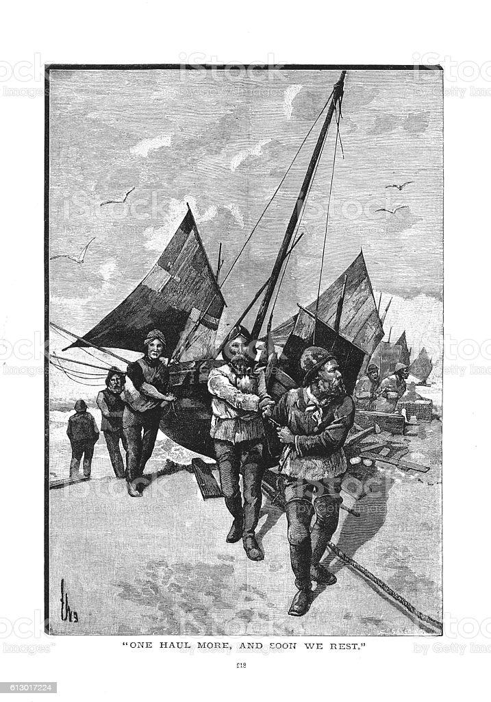 Victorian illustration fishermen dragging fishing boat up the shingle beach vector art illustration