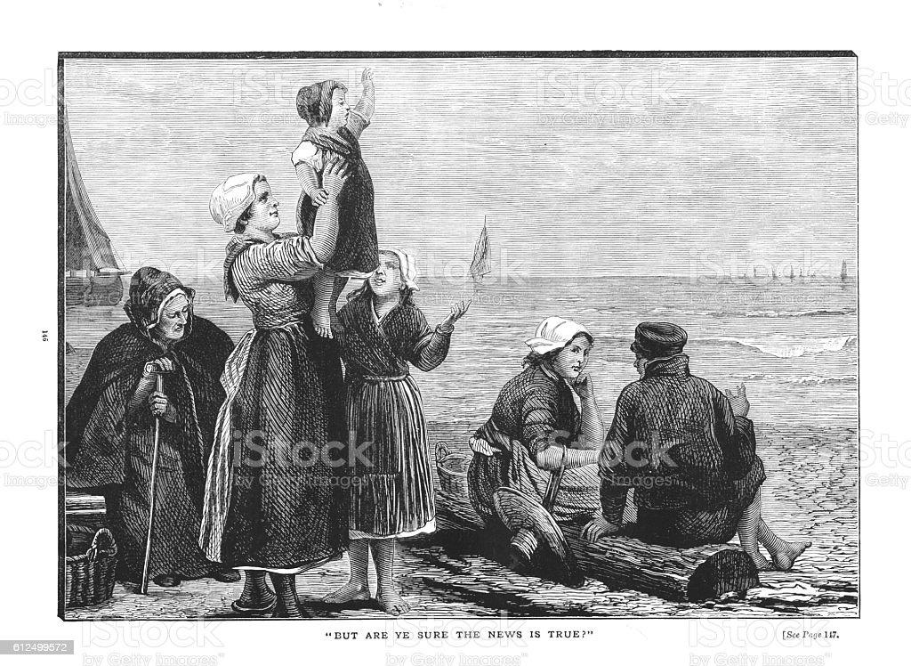 Victorian illustration men women children beach awaiting fishing fleet vector art illustration