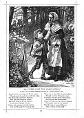 Victorian illustration mother waiting at gate son home from school