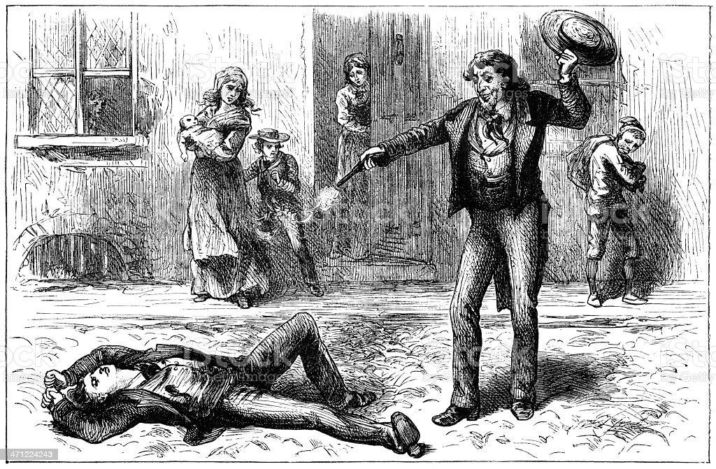 Victorian illustration of a street shooting vector art illustration