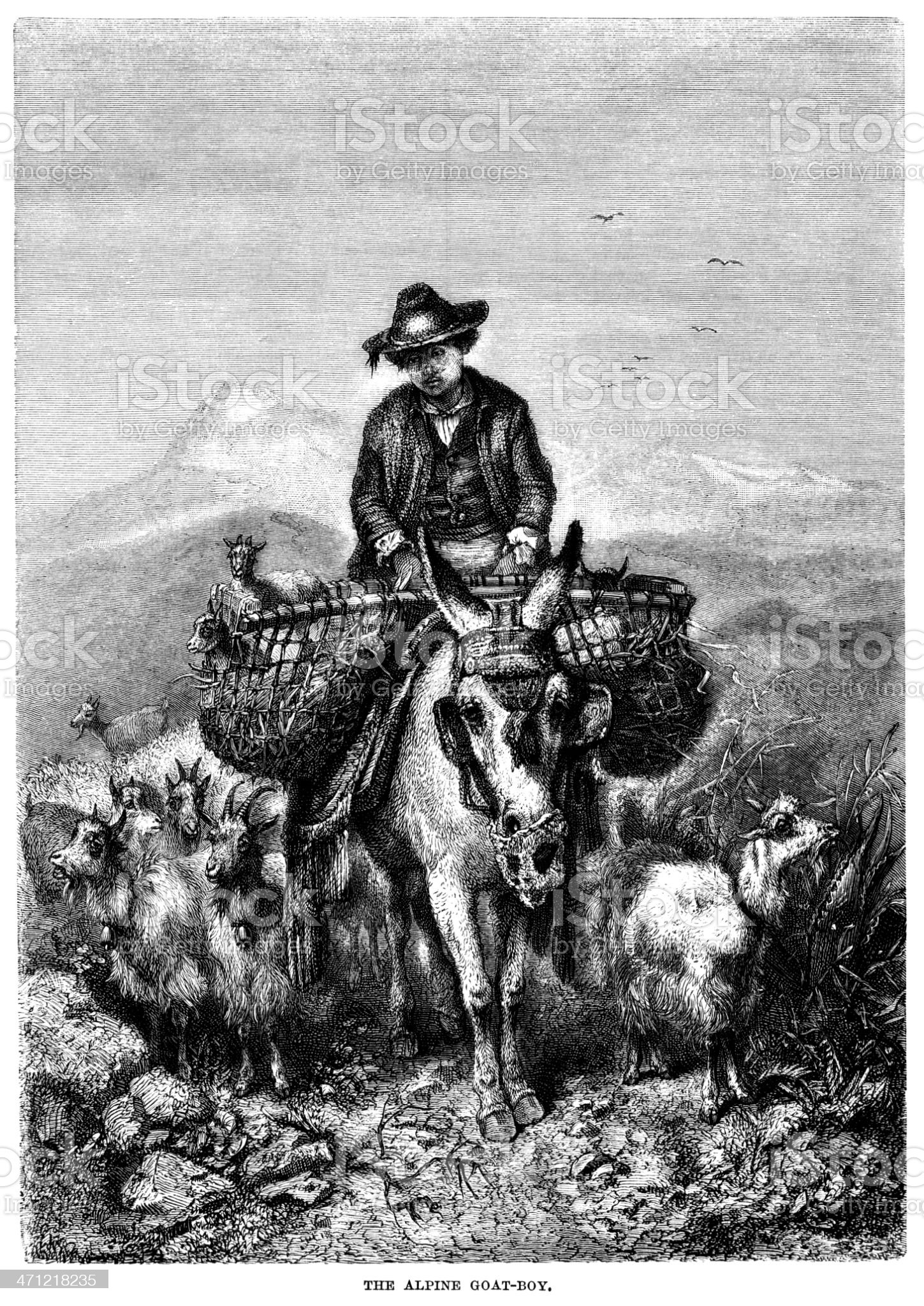 Victorian illustration of an alpine goat-boy royalty-free stock vector art