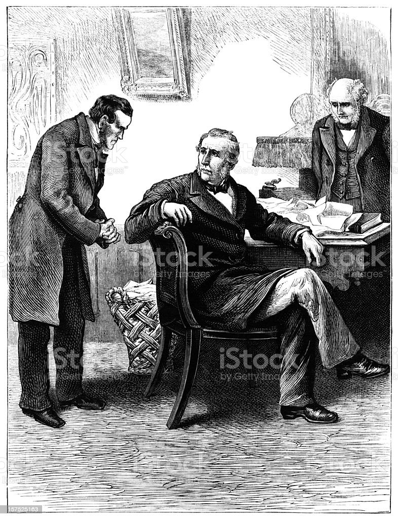 Victorian illustration of business men in discussion vector art illustration