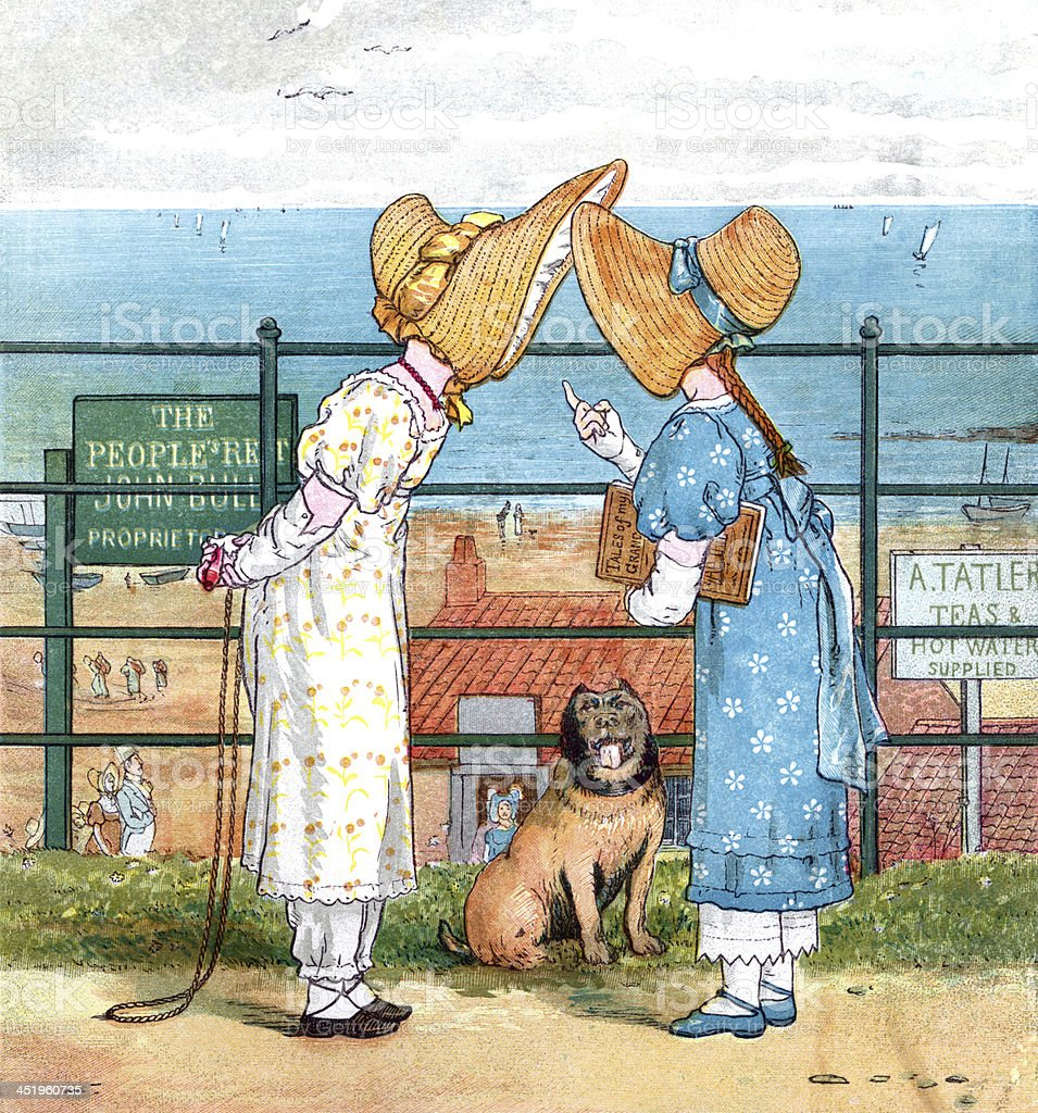 Two Victorian girls chatting at the seaside vector art illustration