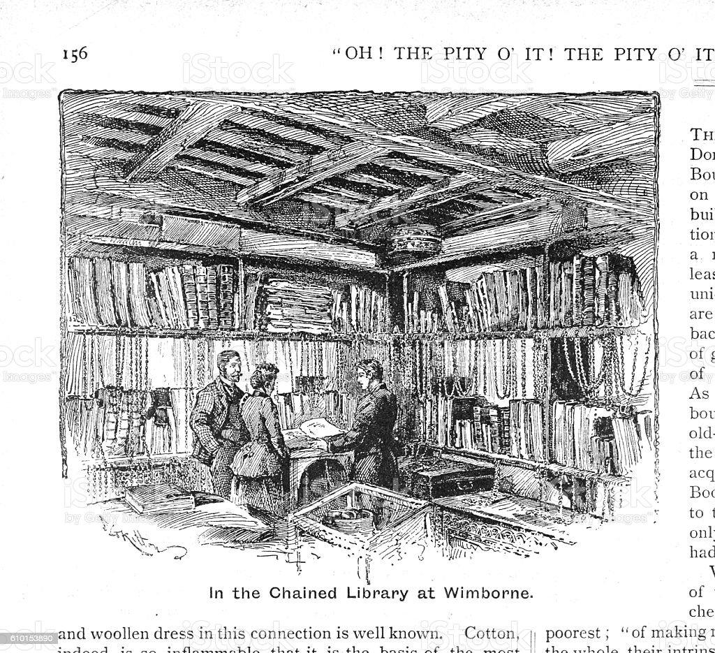 Victorian illustration the Chained Library Wimborne Minster Dorset. vector art illustration