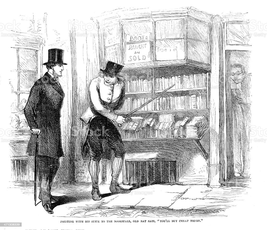 Victorian illustration two men outside bookshop  from 1864 magazine royalty-free stock vector art