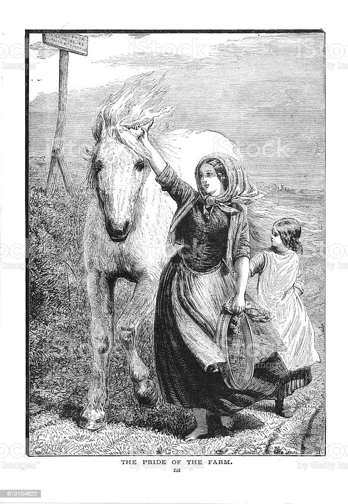 Victorian illustration woman and child leading white farm horse vector art illustration