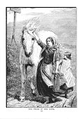 Victorian illustration woman and child leading white farm horse