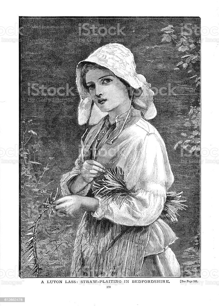 Victorian illustration young country girl in cap straw plaiting vector art illustration