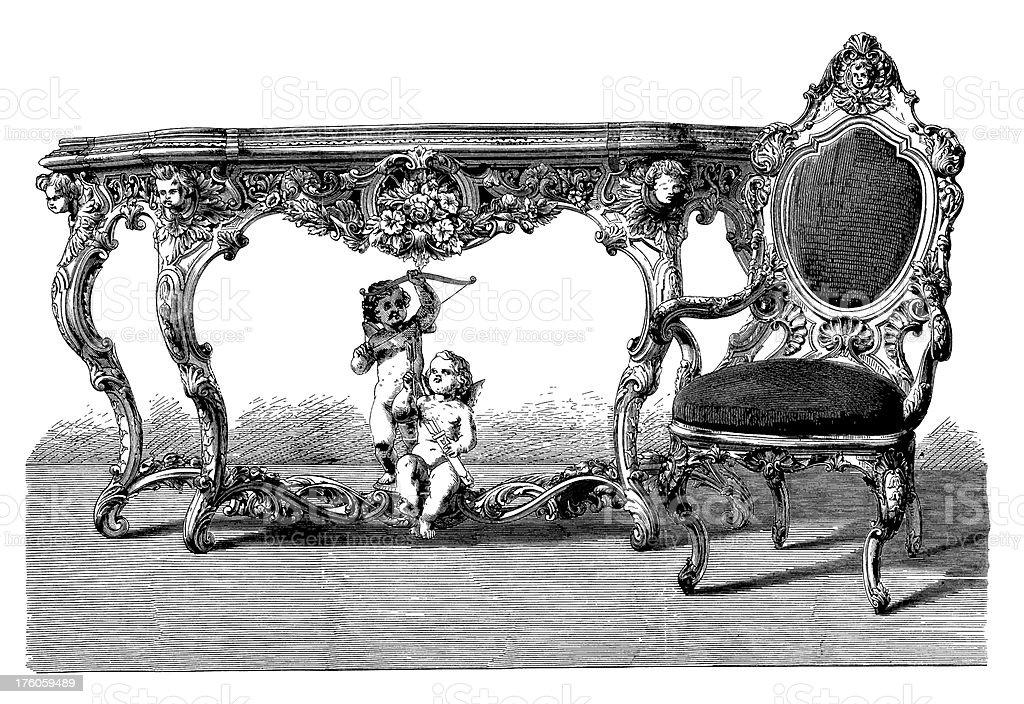 Victorian Interior | Antique Design Illustrations royalty-free stock vector art