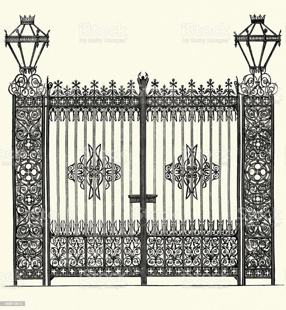 Victorian Iron Gates vector art illustration