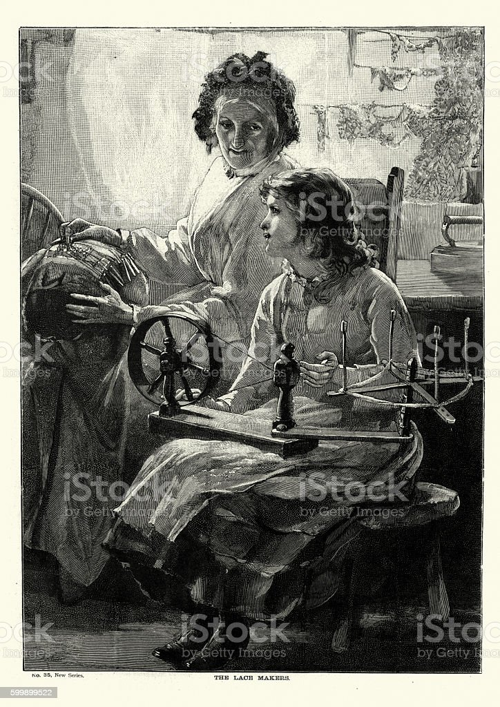 Victorian lace makers, 1894 vector art illustration