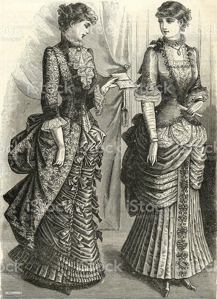 Victorian Ladies Engrave royalty-free stock vector art