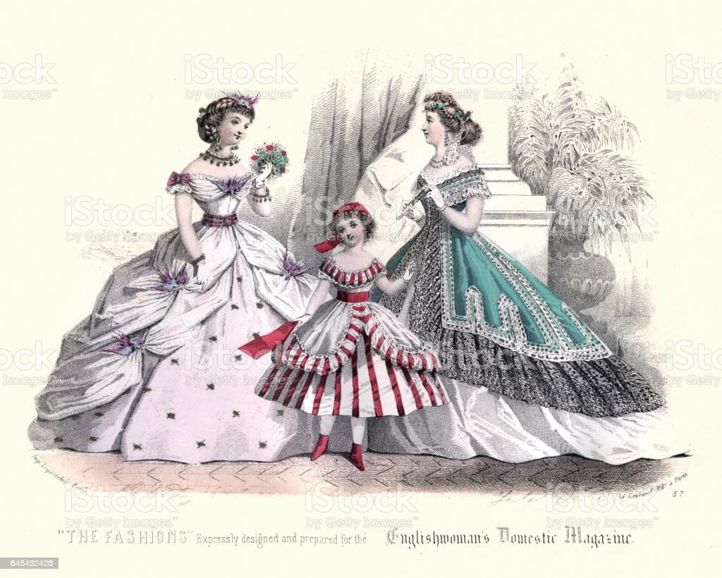 Victorian ladies fashions of the 1850s vector art illustration