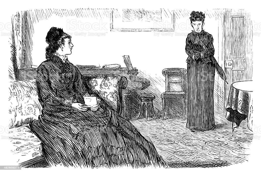 Victorian lady interviewing a prospective parlour-maid vector art illustration