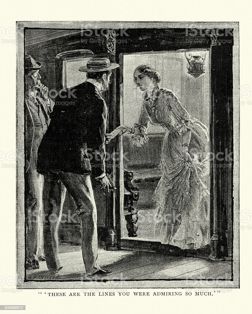 Victorian lady passing a letter to a young man vector art illustration