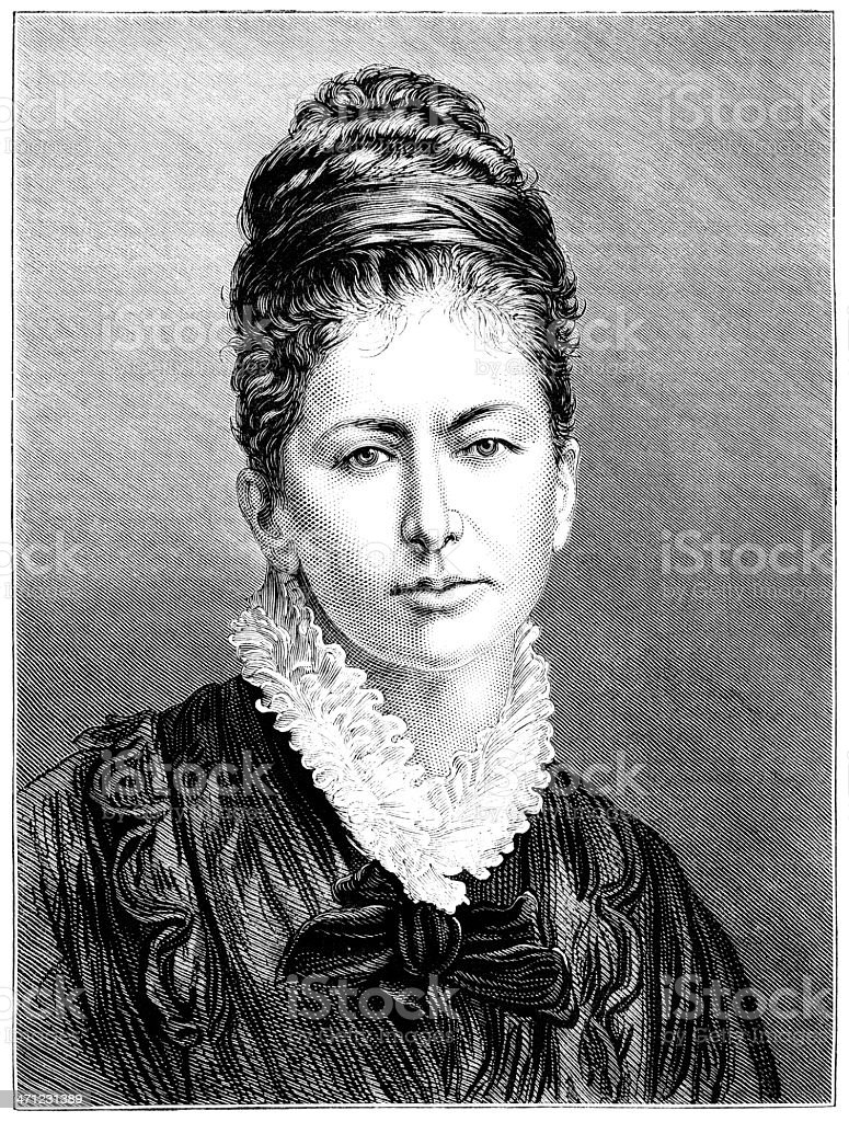 Victorian lady with hair up (1875 illustration) vector art illustration