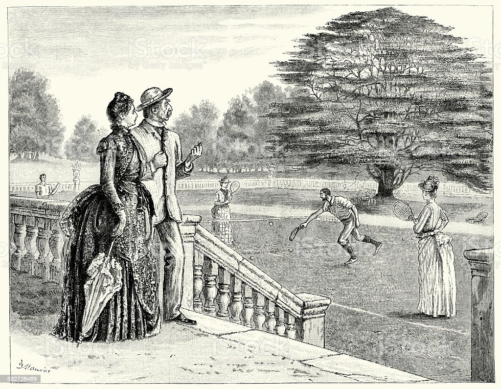 Victorian Lawn Tennis vector art illustration