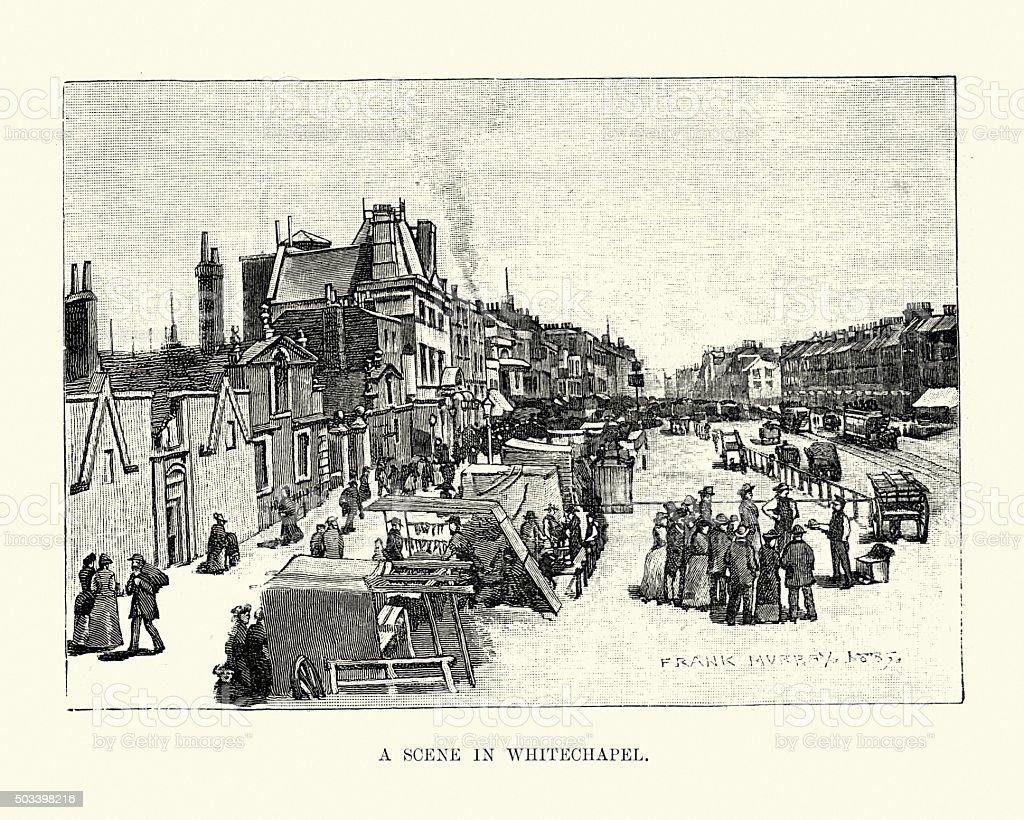 Victorian London - A Scene in Whitechapel vector art illustration