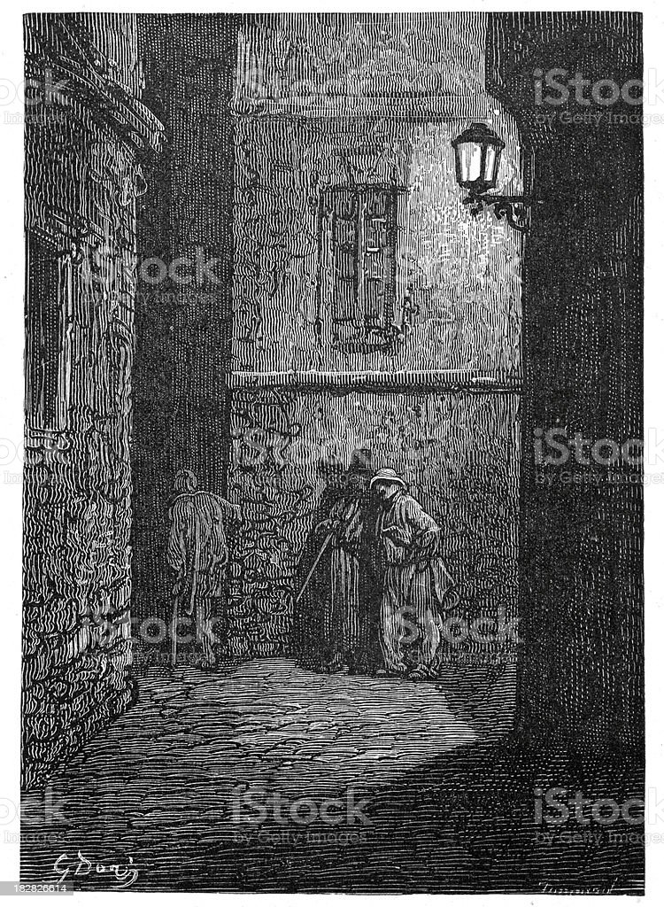 Victorian London - A shady place vector art illustration